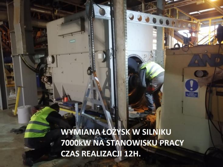 Wymiana lozysk silnik 7000kW